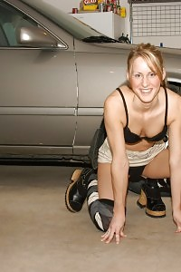 Sea Reveals Her Good-looking Ass And Amazing Black Panties As She Poses In The Garage