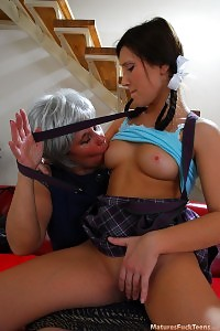 Teen Dark-haired Grabbed Self-jerking And Stuffed By A Gray-haired Lesbian Mature
